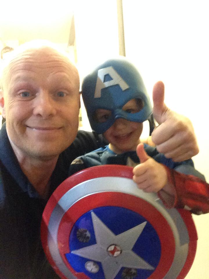 SESMA Martial arts Norwich Master Instructor Wayne Baker bonding with student Captain America