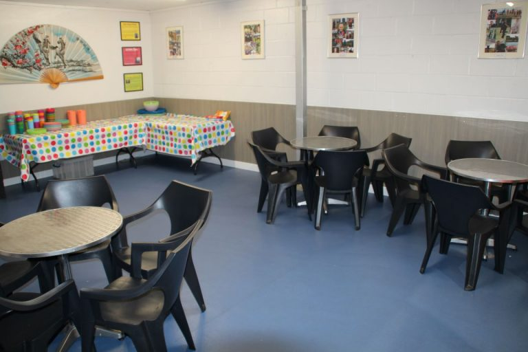 room with tables set out for food